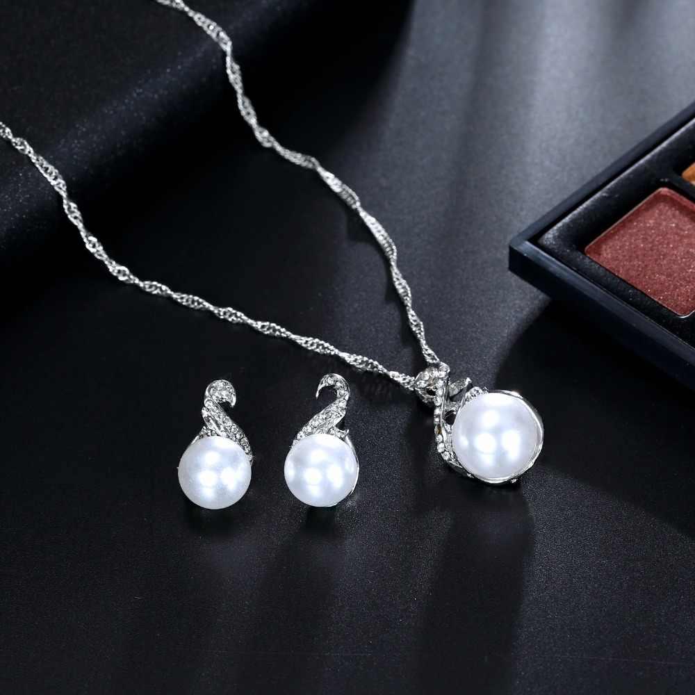 Vkme Hợp Thời Trang Bộ Trang Sức Bạc-Màu Bông Tai Mô Phỏng Bộ Trang Sức Ngọc Trai Nữ Vòng Cổ Bộ BIJOUX Collier D'oreille