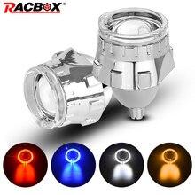2.5 Inch Bi Xenon Hid Projector Lens Met Zilveren Masker Angel Eyes Led H7 H4 Socket Koplampen Gebruik H1 Hid lamp Lhd Rhd Auto Styling