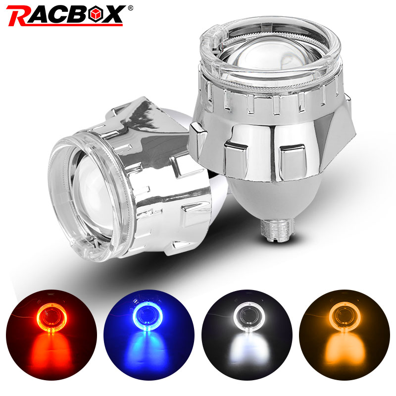 2.5 inch Bi xenon HID Projector <font><b>Lens</b></font> with Silver Mask Angel Eyes <font><b>Led</b></font> <font><b>H7</b></font> H4 Socket <font><b>Headlights</b></font> Use H1 HID Bulb LHD RHD Car Styling image