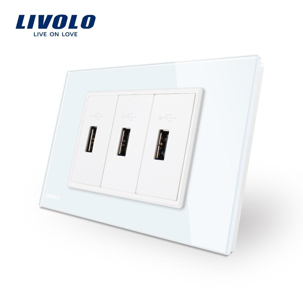 Livolo Standard US 3 Broches USB Chargeur, Panneau En Verre Blanc 3 port USB Socket 5 V 2.1A, prise de Courant murale, VL-C93U-11