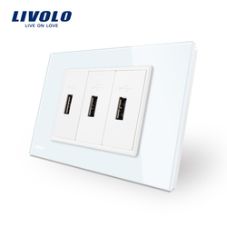 Livolo US Standard 3 Pin USB Charger , White Glass Panel 3 port USB Socket 5V 2.1A, Wall Power Socket , VL-C93U-11