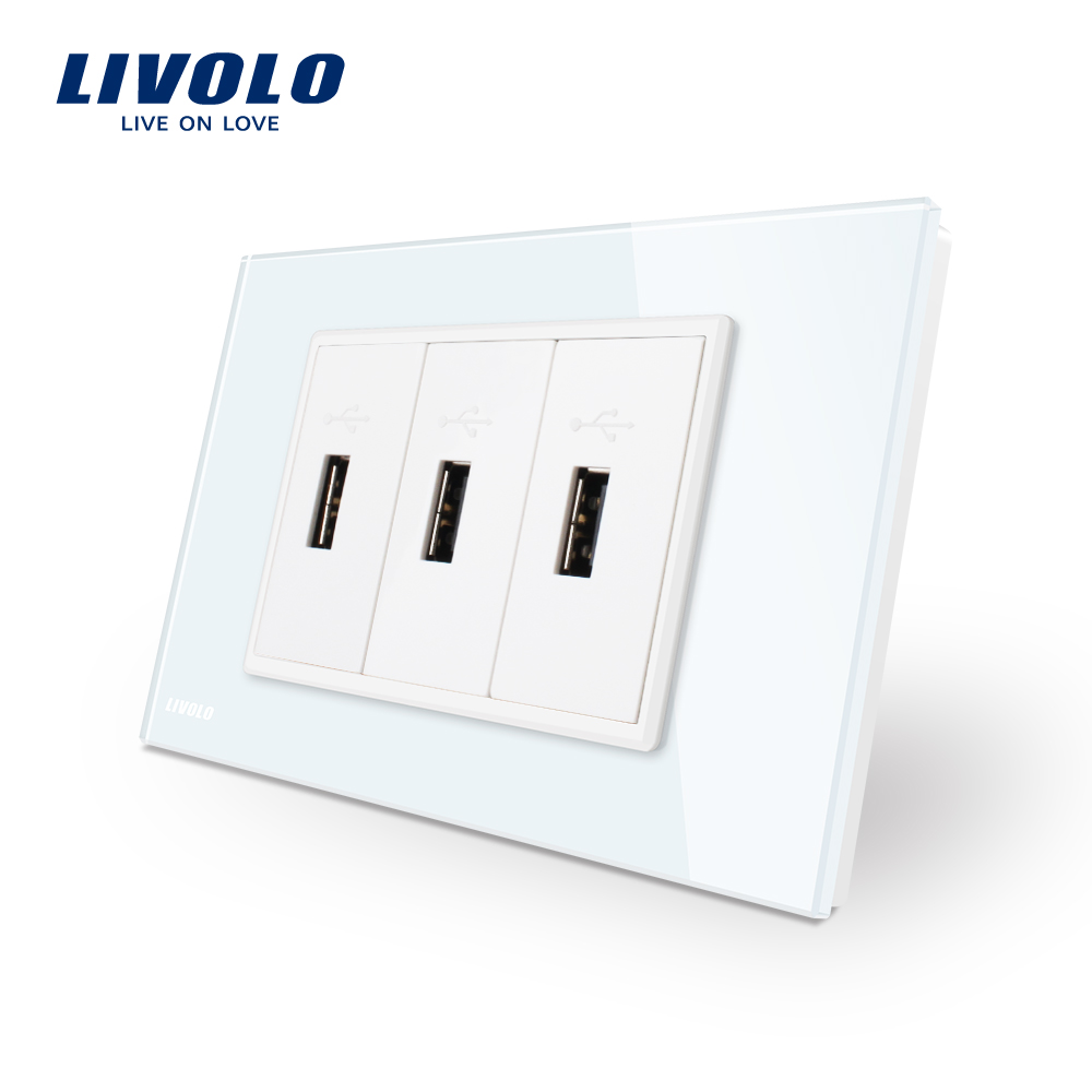 Livolo US Standard 3 Pin  USB Charger , White Glass Panel 3 port USB  Socket  5V 2.1A, Wall Power Socket , VL-C93U-11 new south africa power and usb charger pop up desk socket 100 pcs set