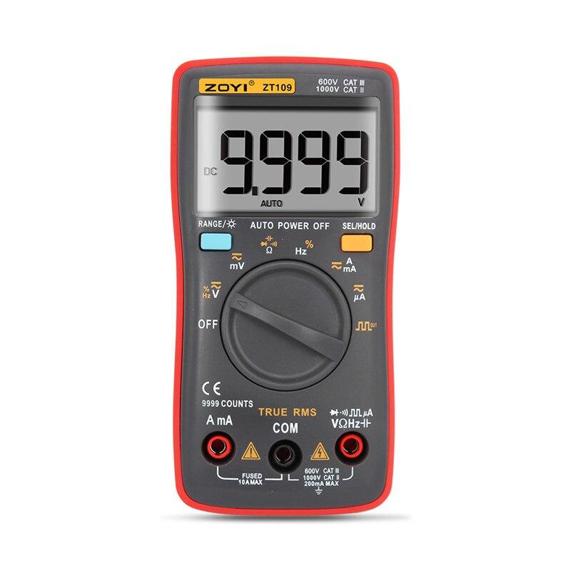 Digital Multimeter Palm-size True-RMS 9999 counts Square Wave Backlight AC DC Voltage Ammeter Current Ohm Auto/Manual ZT109