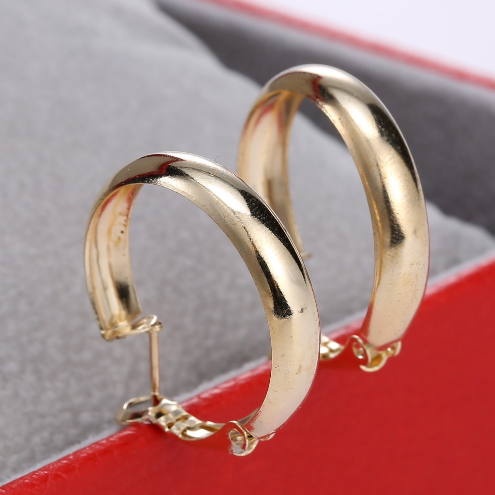 2015 Fashion Gold Color Round Hoop Earrings For Women Basketball Wives Hoop  Earring Jewelry Gift(