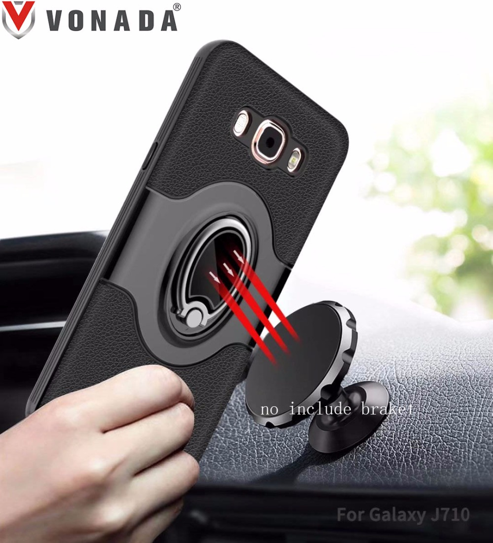 Finger Ring 360 Degree Rotation Magnet Car Holder TPU PC Hybrid Shockproof Phone Case Cover for Samsung Galaxy J710 J7 2016