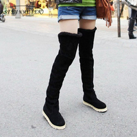 Flock snow boots women flats high knee boots plus velvet shoes Korean version boots with fur 2018 winter black grey yellow brown