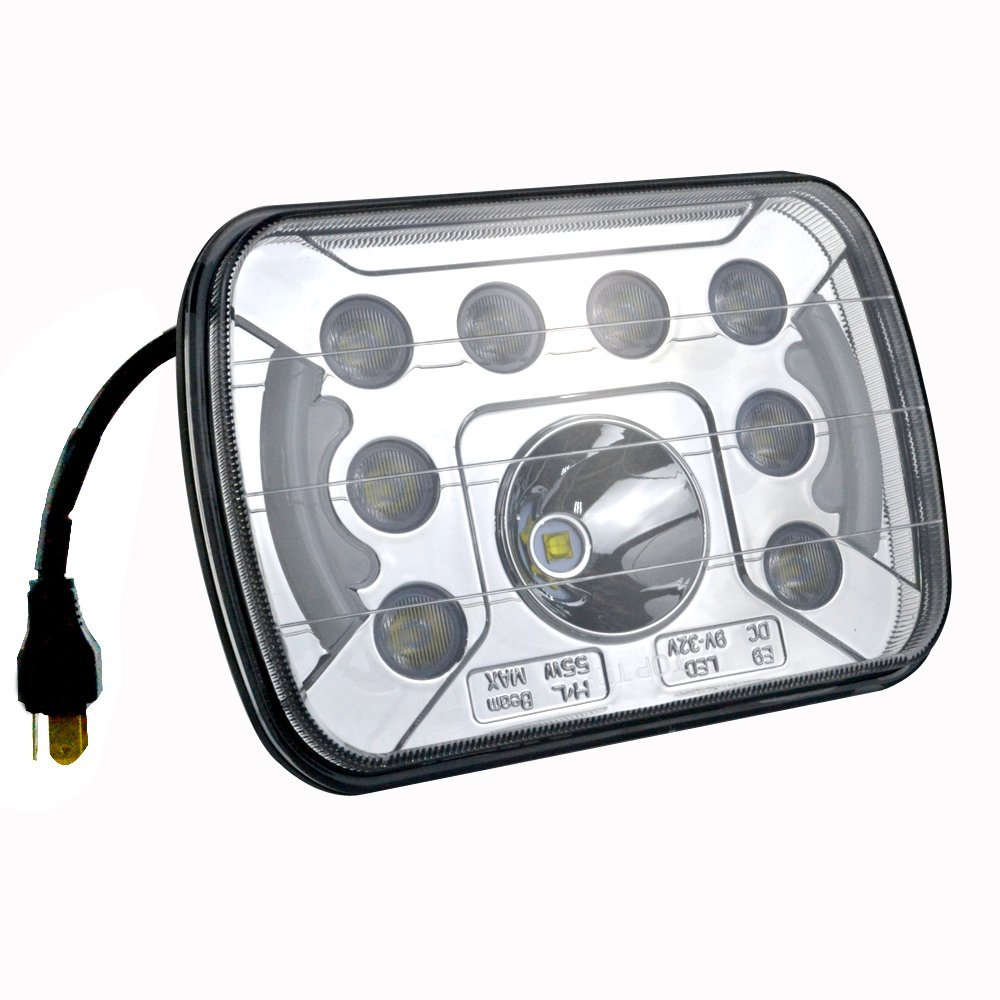 55W 5x7 inch High Low Beam Led Headlights For Wrangler YJ Cherokee XJ Trucks 4X4 Offroad with Angel Eyes DRL(Pair) 5 x 7 6x7inch rectangular led headlights for jeep wrangler yj cherokee xj trucks 4x4 offroad headlamp replacement h6054 h5054