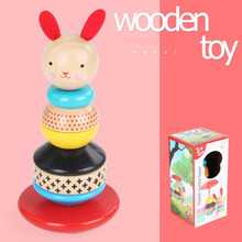 New MamimamiHome Baby Wooden Development Toys Woody Cute Rabbit Tumbler Wooden Towers Toy Clown Montessori Toys Building Blocks mamimamihome baby wooden detachable chute car multi layer track scooter montessori toys for children building blocks
