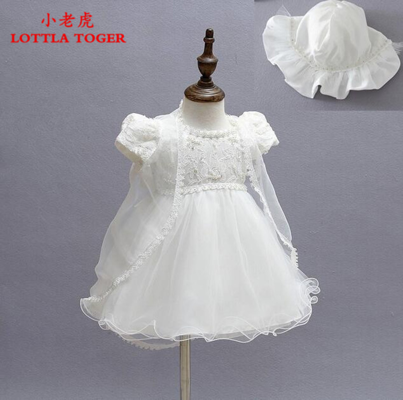 2016 Newborn Baby Christening Gown Infant Girl s White Princess Lace Baptism Dress Toddler Baby Girl