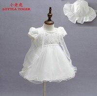 2016 Newborn Baby Christening Gown Infant Girl's White Princess Lace Baptism Dress Toddler Baby Girl Chiffon Dresses 3pcs/set