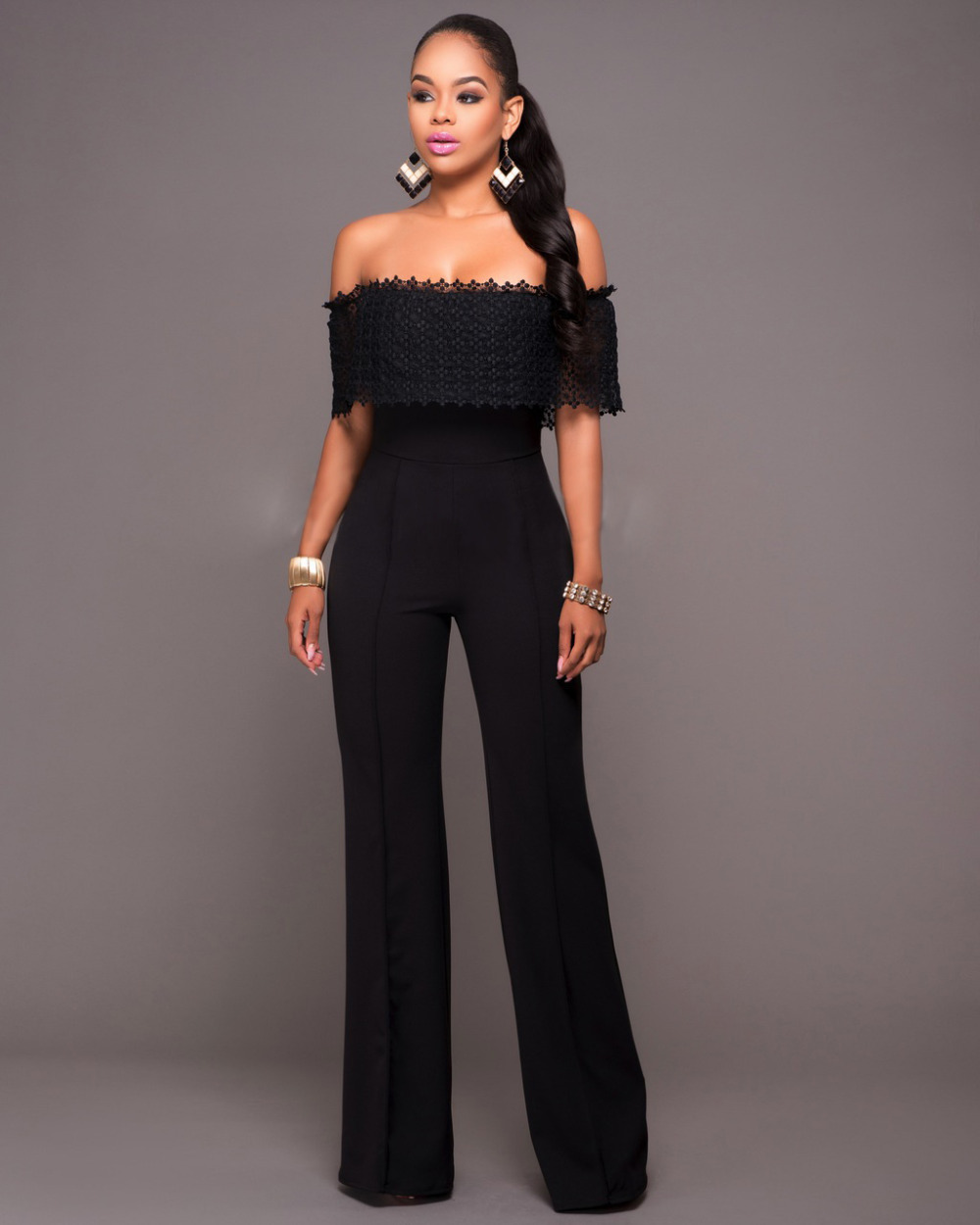f73b4ef78b32 2016 Rompers Womens Jumpsuit Summer Black Slash Neck Wide Leg Jumpsuit  Ladies Elegant Jumpsuit Plus Size Overalls For Women-in Jumpsuits from  Women s ...