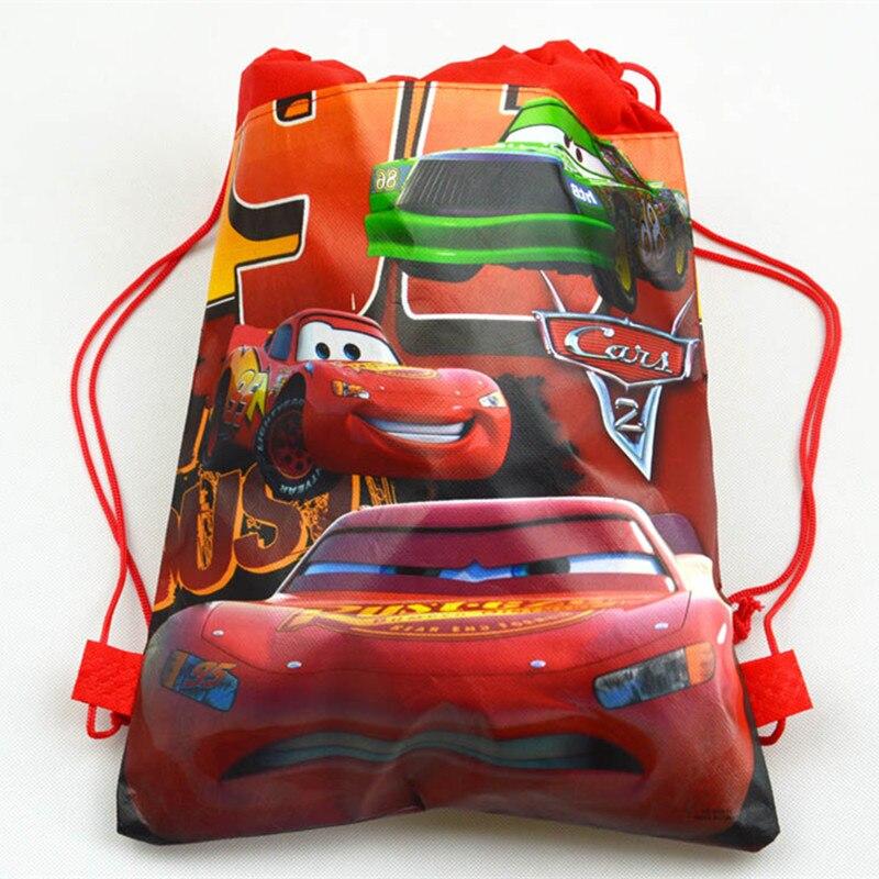12pcs Cartoon Cars Theme Lightning McQueen Non-woven Fabrics Drawstring Backpack Schoolbag Shopping Bag