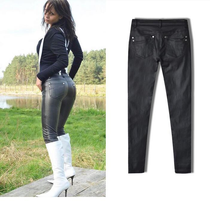 Women's Clothing Women Sexy Low Waist Pu Leather Black Skinny Motorcycle Pants Jeans