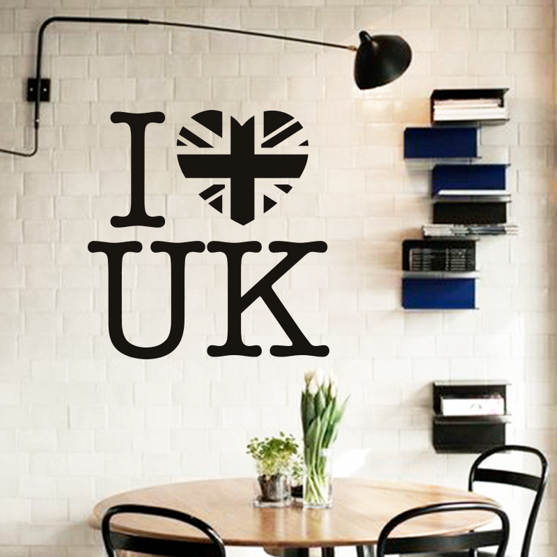 Art design cheap home decoration pvc i love uk wall sticker waterproof vinyl house decor words decals for bar and shop bedroom in wall stickers from home