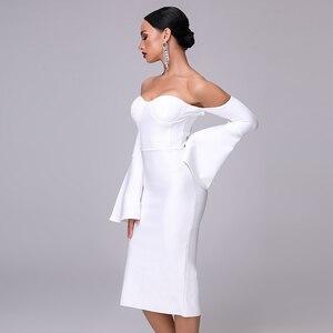 Image 5 - 2020 New Autumn Women Bandage Dress Elegant White Black Dress Sexy Flare Sleeve Midi Celebrity Party Christmas Dress Vestidos