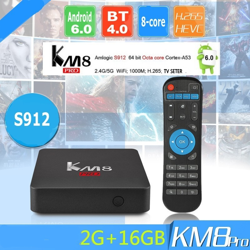 2017 New KM8 PRO TV Box font b Android b font 6 0 Amlogic S912 Octa