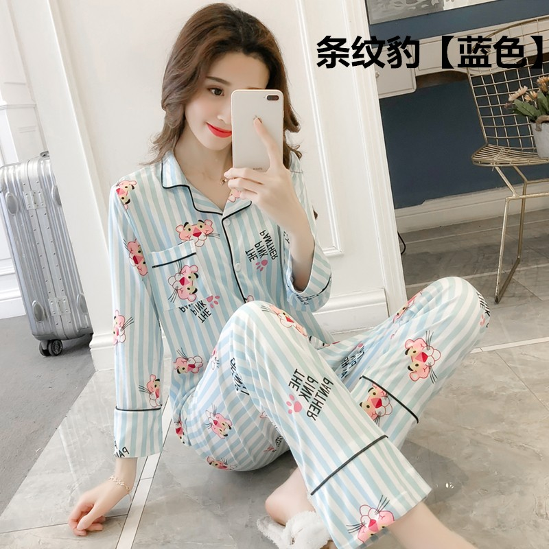 2018 autumn women   Pajamas     set   Flower printed sleepwear suit long sleeves loose outfits Comfortable   pajamas     sets   casual homewear