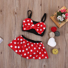 Wholesale Price 2016 New Cartoon Baby Girls Swimwear Kids Cute Two-Piece suit Bikini Child Swimsuit Beach Wear Children Clothes
