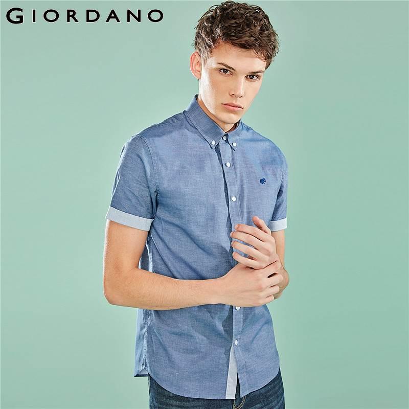 Giordano Homens Homens Da Camisa do Bordado Sapo Stretchy Tecido Oxford Slim Fit Camisa Homme Botão Frontal Contraste Cor Top de Manga Curta