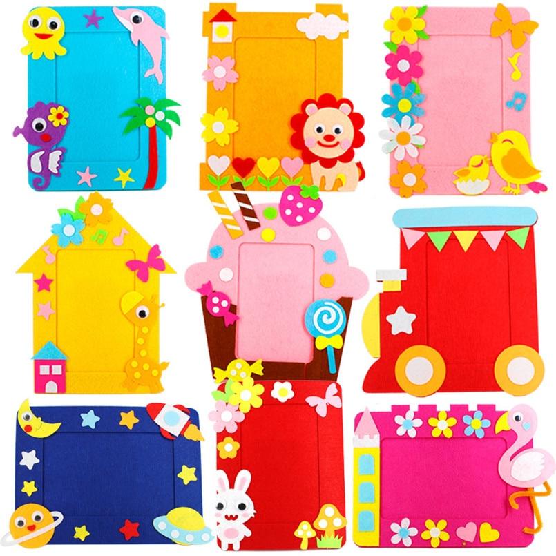 9Pcs/set DIY Cartoon Animal 6 Inch Photo Frame Children Handmade Craft Art Toys For Kids Girl Home Decor Kindergarten Applique