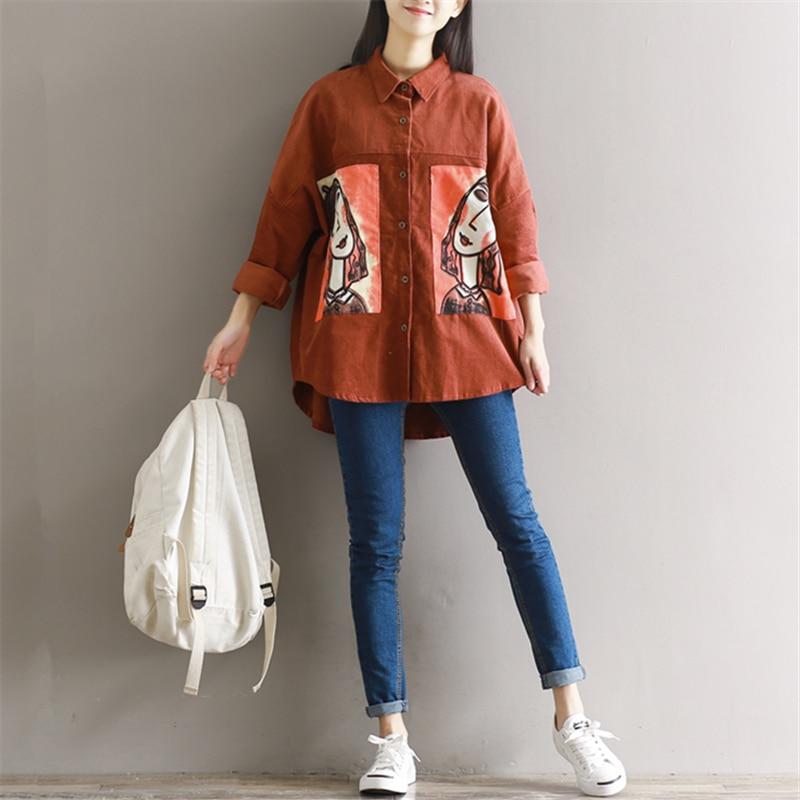 Corduroy colour cartoon stitch shirt female long sleeve 2017 spring all match print shirt loose top