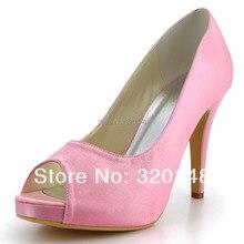 Sweet Girl Pumps EP41028-IP Pink Peep Toe 10.2cm Stiletto Heel Platform Satin Wedding Bridal Women's Dress Shoes