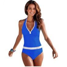TQSKK 2017 New One Piece Swimsuit Women Vintage Bathing Suits Halter Top Plus Size Swimwear Monokini Swimsuit Summer Beach Wear