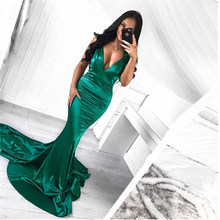 Deep V Neck Stretch Mermaid Party Dress Bodycon Floor Length Backless Satin Club Dress Green Sleeveless Hollow Out Dress