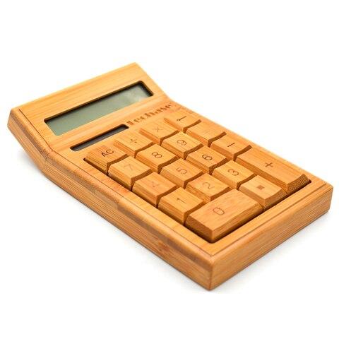 calculadora de madeira bambu solar calculadora