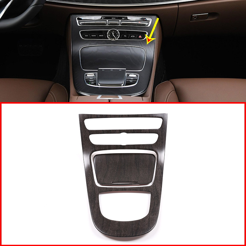 Oak Wood Grain Style ABS Accessories For Mercedes Benz E Class 2019 Year Modle ABS Plastic Console Gear Panel Frame Cover Trim