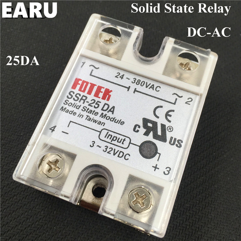 1pc High quality SSR-25DA 25A 3-32V DC TO 24-380V AC SSR 25DA Solid State Relay Plastic Cover Case Factory Directly Wholesale normally open single phase solid state relay ssr mgr 1 d48120 120a control dc ac 24 480v