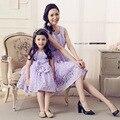 Verano sin mangas rose encaje vestidos de baile Formal elegante Vintage fiesta familiar vestido de la madre / hija de la familia a juego trajes