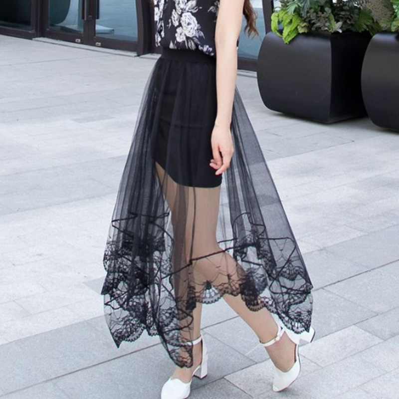 Lace Girl Summer Long Lace Skirt Women Black White 2018 Mesh Voile Casual Skirts High Waist Bohemian Sexy Transparent Maxi Skirt