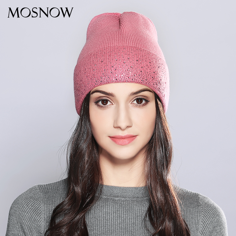 MOSNOW   Winter Hats For Women Wool Casual High Quality Wool Rhinestones Warm Fashion 2017 Knitted Hat Female Hats Caps  #MZ704A men s skullies winter wool knitted hat outdoor warm casual solid caps for men caps hats
