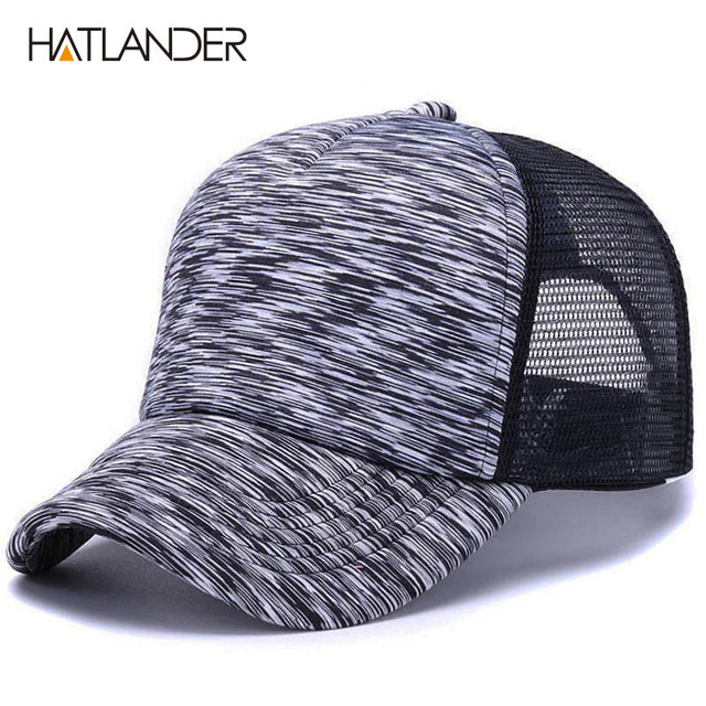 ac536d83bd0  HATLANDER Adjustable striped baseball caps for men women summer sun hat  solid snapback casquette gorras mesh curved trucker cap
