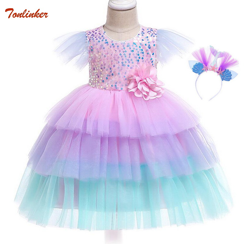 Baby Girl Sequin Mermaid Fancy Dress Up Kids With Headband Cosplay Costume Girls Christmas Party Long Gown Party Dress 1-5T