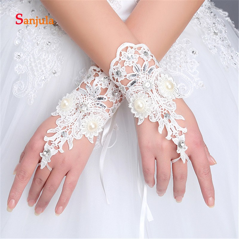 Weddings & Events Wedding Accessories Pearls Beaded White Bridal Lace Wrist Gloves Fingerless Rings Back Lace Up Wedding Gloves Robe Mariage Femme Blanche G36