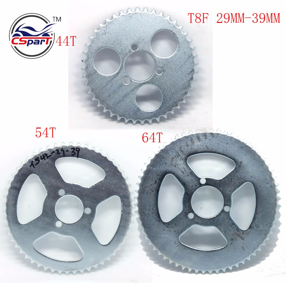 44 54 64 Tooth 44T 54T 64T T8F 29MM Rear Sprocket For Razor EVO X-Treme IZIP Scooter 47CC 49CC Mini Moto Quad Dirt Pit Bike 428h chain rear sprocket 37 tooth 58mm diameter for crf50 xr50 dirt pit bike motorcycle motocross 428 gear fit 10inch rear wheel