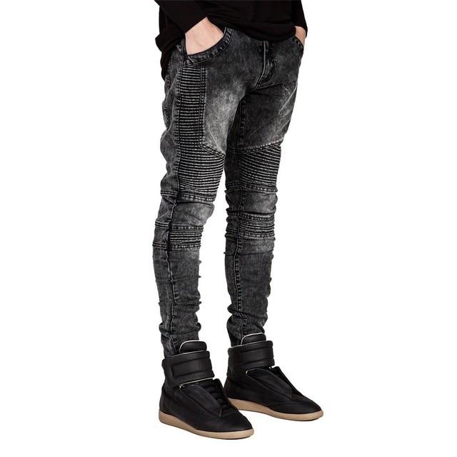 גברים ג 'ינס אופנה ג' ינס דקה מסלול רוכב Biker H0292 Hiphop ג 'ינס סקיני לגברים