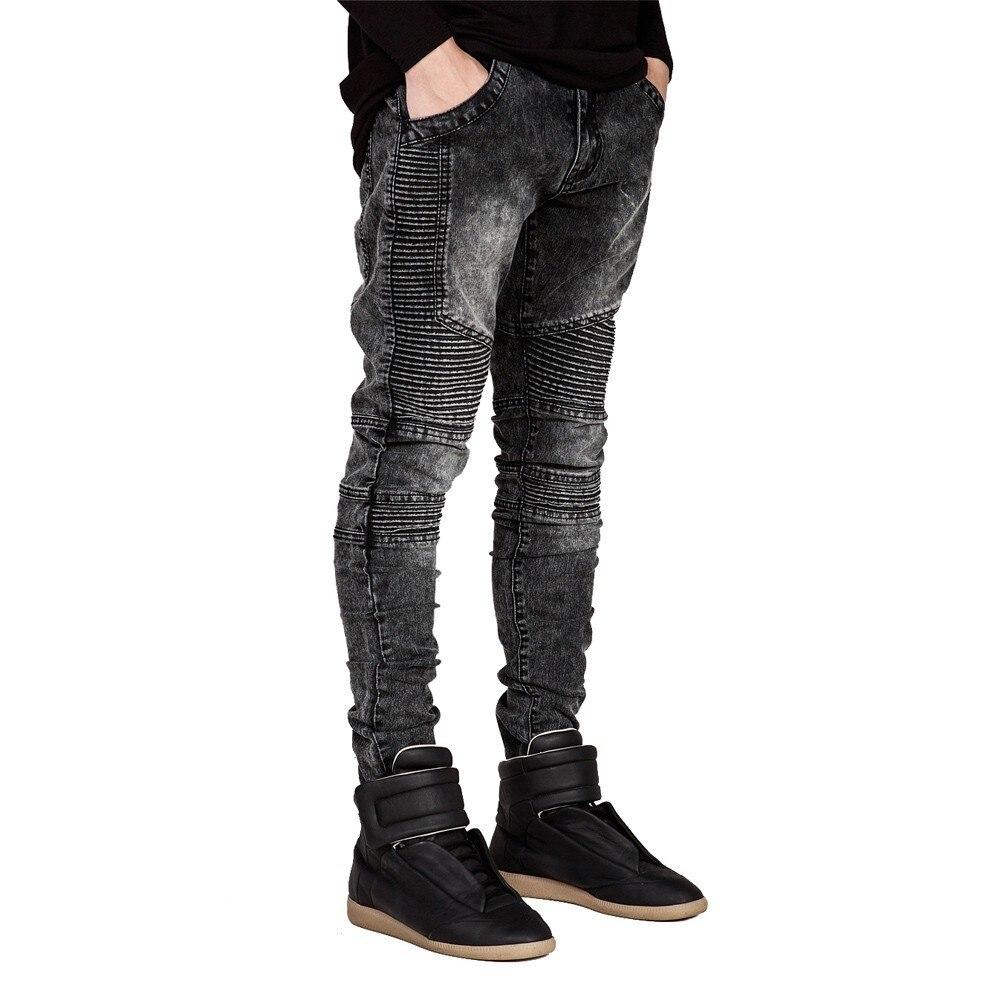 De los hombres pantalones vaqueros pista Slim Racer Biker Jeans de moda Hiphop Skinny Jeans para hombres H0292