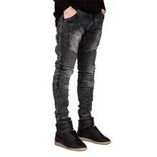 גברים ג ינס מסלול Slim רוכב אופנוען אופנה Hiphop סקיני ג ינס לגברים H0292