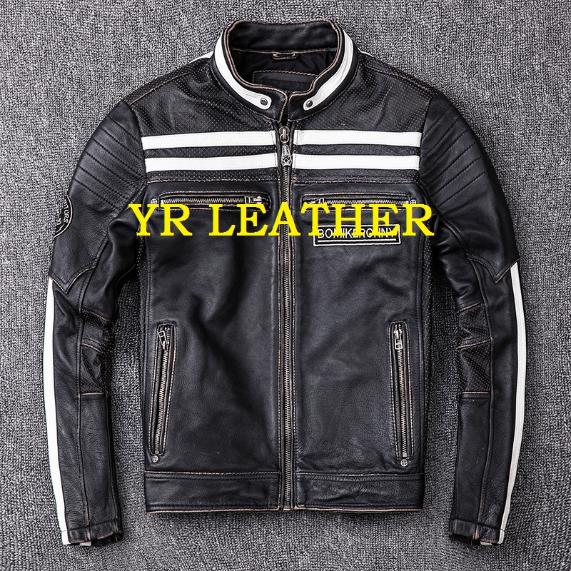 YR!Free shipping.2019 fashion motor biker genuine leather jacket.skull embroidery cowhide coat.plus size slim leather jackets