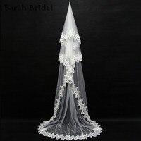 3メートルマリアージュレースアップリケホワイト大聖堂ウェディング花嫁ベールなしブライダルウェディングアクセサリーvelosデノビア在庫11047