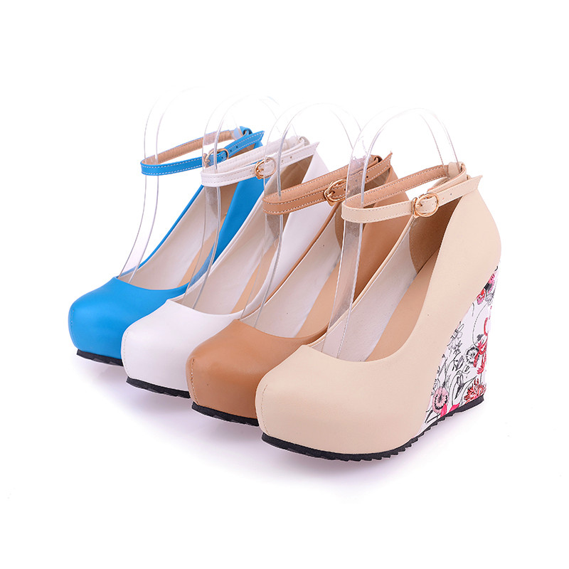 Women S Elegant Closed Toe Wedge Platform Pumps Sexy Ankle Strap Floral Parint High Heel Shoes