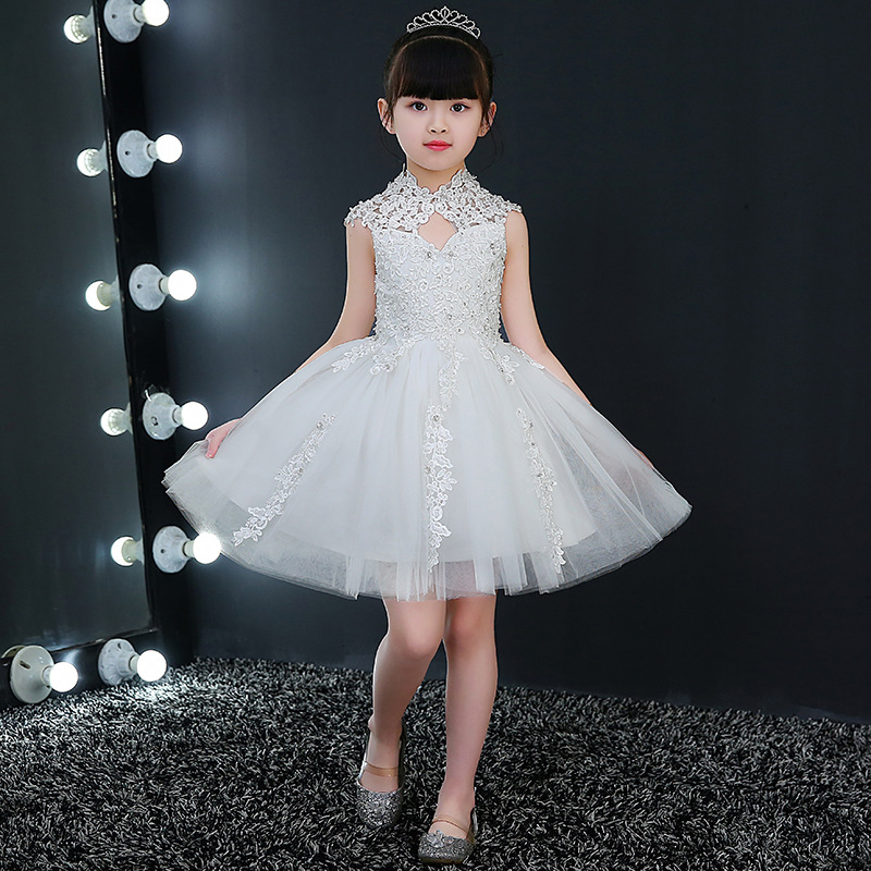2018 Hot Sale Children Elegant White Tulle Girls Dress Kid Party Dress Wedding Gown Girls First Communion Dresses Princess A2 стоимость