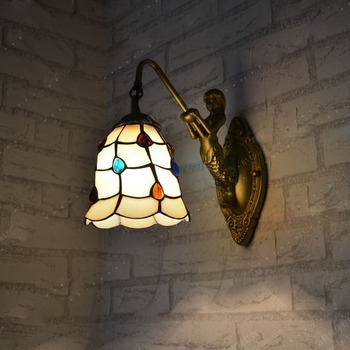 Simple Modern European Style LED Frosted Glass Wall Lamp Tiffany Lamp Bedside Bedroom Wall Lamp Mermaid Peacock Tail Wall Sconce