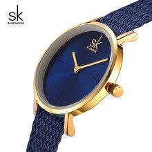 Shengke Original Relojes Mujeres de Moda de Nylon Correa de Reloj 2018 de Primeras Marcas de Lujo de Oro Dial Ladies Relojes de Cuarzo Relojes Mujer