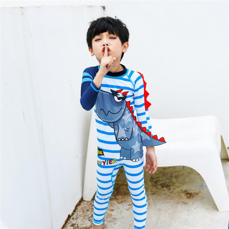 3a56ccbc8 Detail Feedback Questions about 2019 New boys swimming costume dinosaur  cartoon one piece kids swimsuit long sleeve striped swimwear bath clothes  for kids ...