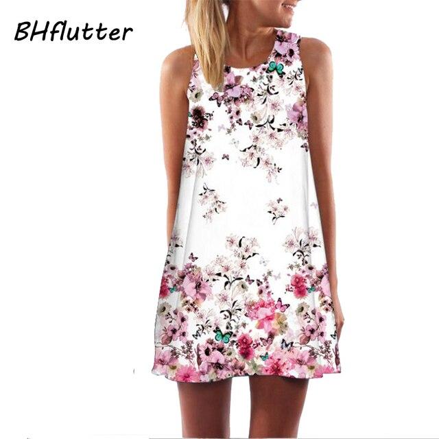 BHflutter Vestidos Women Dress 2017 New Style Chiffon Dress Floral Print Sleeveless Summer Dress Brief Casual Short Dresses