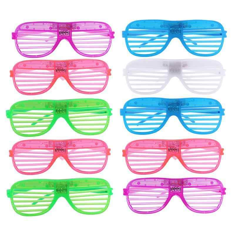 d6ad61e5047 12 Pairs of Plastic Shutter Shades Grid LED Glasses Eyewear Halloween Club  Party Cosplay Props (